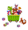 kids toys box toy kid child play game bear vector image