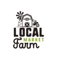 local farm market logo design and label template vector image