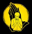 man praying to god prayer cartoon graphic vector image