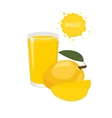 mango juice with mango and juicy slices vector image vector image