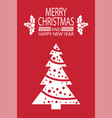 merry christmas happy new year postcard with tree vector image vector image