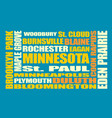 minnesota state cities list vector image vector image