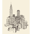 New York city architecture engraved vector image vector image