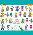 one of a kind activity with robots characters vector image vector image