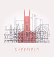 outline sheffield skyline with landmarks vector image vector image
