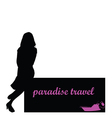 paradise travel with girl and boat vector image vector image