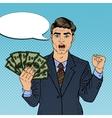 Pop Art Businessman with Money vector image vector image