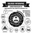 Railroad infographic elements simple style vector image vector image