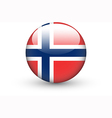 Round icon with national flag of Norway vector image vector image