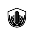 security black icon sign on isolated vector image