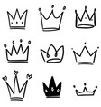 set crown in sketching style corona symbols vector image vector image