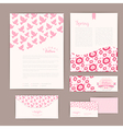 Set of floral vintage wedding cards invitations or vector image