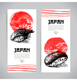Set of Japanese sushi Sketch banners vector image vector image