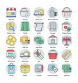 shopping and commerce circular icons set vector image vector image
