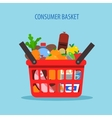 shopping basket flat concept vector image