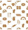 Simple bakery items icons seamless pattern eps10 vector image