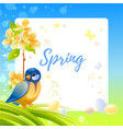 spring frame with cherry blossom flower tit bird vector image vector image