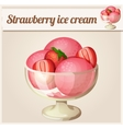 Strawberry ice cream Detailed Icon vector image vector image