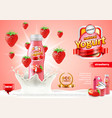 strawberry yogurt ads bottle in milk splash vector image vector image