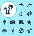 summer icons set collection of parasol balloon vector image