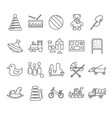 toys signs black thin line icon set vector image vector image
