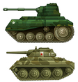 Two armoured tanks vector image
