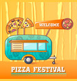 welcome pizza festival concept background cartoon vector image