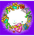 holiday gifts hand drawn frame winter design new vector image