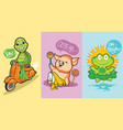 3 cute animal character turtle pig and frog vector image vector image