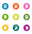 awareness icons set flat style vector image vector image