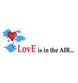 banner with heart balloon flies flies vector image vector image