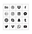 black social media icons in alphabetical order vector image vector image