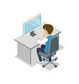boy sit at desk with computer isometric icon vector image vector image
