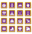 canada travel icons set purple square vector image vector image