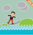 Cartoon Businessman walking on the rope vector image