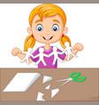 cartoon little girl making paper people vector image