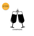 champagne glasses icon flat style vector image vector image