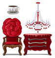 chest of drawers chandelier chair and cup vector image vector image