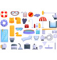 equipment for pool icons set cartoon style vector image vector image