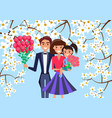 father mother and child holds bouquet of flowers vector image vector image