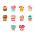 flat color cupcake icon set vector image vector image