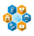 Flat medical icons with shadow vector image