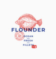 flounder fillets abstract sign symbol vector image vector image