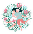 flowers and lovers hug valentine card vector image vector image