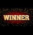gold 3d word winner vector image