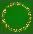 green background with round frame of golden leaves vector image