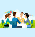 group people in cafe vector image