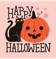 halloween greeting card with black cat pink stars vector image vector image