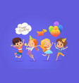 happy kids with the balloons and birthday hats vector image