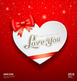 Happy Valentine Day Greeting Card and red ribbon vector image vector image